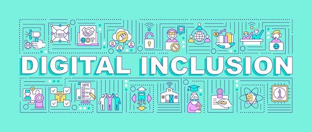Banner für digitale einschlusswortkonzepte. dienste und geräte. reduzierung der digitalen ausgrenzung. infografiken mit linearen symbolen