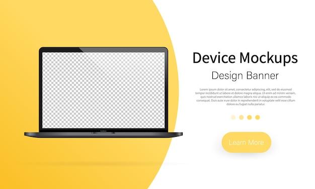 Banner für gerätemodelle. leerer bildschirm des laptops, notebook-modell. vorlage für infografiken oder präsentations-ui-design-schnittstelle. vektor auf weißem hintergrund isoliert. eps 10.