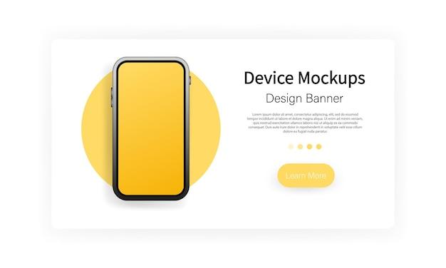 Banner für gerätemodelle. smartphone leerer bildschirm, telefonmodell. vorlage für infografiken oder präsentations-ui-design-schnittstelle. vektor auf weißem hintergrund isoliert. eps 10.