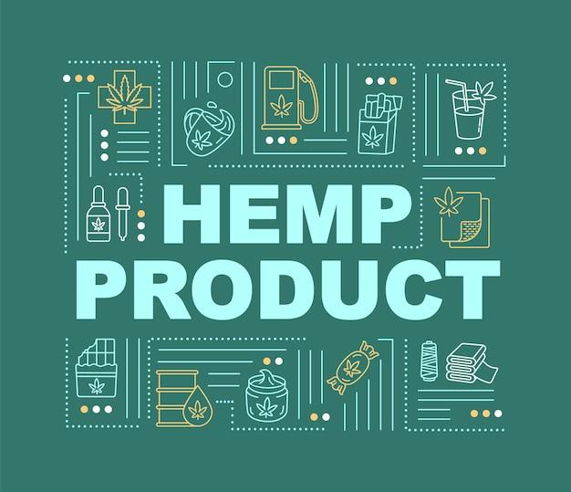Banner für hanfproduktwortkonzepte. cannabiskonsum in medizin, treibstoff und bauwesen. infografiken mit linearen symbolen auf grünem hintergrund. isolierte typografie. vektorumriss rgb-farbabbildung