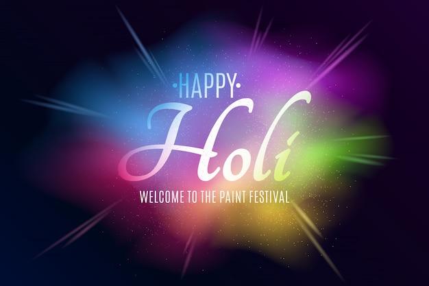 Banner für holi festival der farben. explosion von farben. mehrfarbiges spray. bunter nebelstaub.