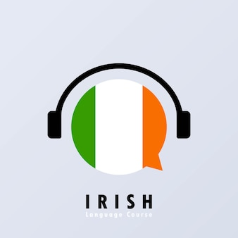 Banner für irische sprachkurse. online lernen. vektor-eps 10. auf hintergrund isoliert.