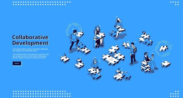 Banner für kollaborative entwicklung. geschäftskonzept der teamarbeit und partnerschaftsstrategie. zielseite der zusammenarbeit in der unternehmenszentrale mit isometrischen personen und puzzleteilen