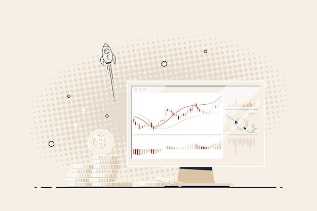 Banner für kryptowährung, börse und devisenhandel. internationale börse. computerbildschirm mit candlestick-chart und stapeln von goldmünzen. vektorillustration im flachen stil