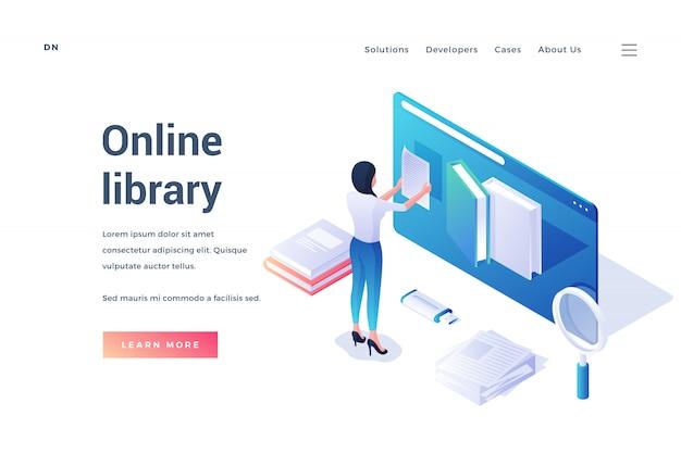Banner für online-bibliothek mit studenten in drei dimensionen