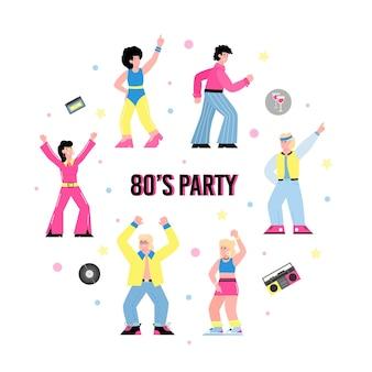 Banner für s-party mit leuten in der flachen vektorillustration der mode der achtziger jahre