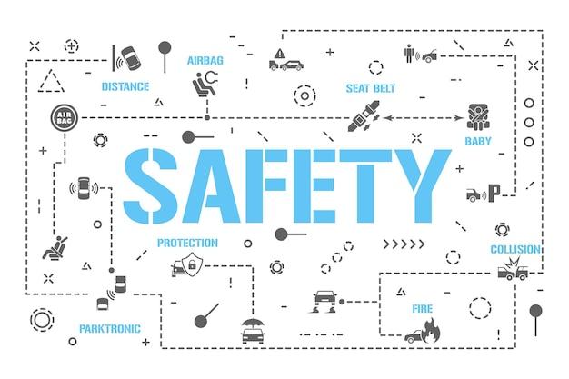 Banner für sicherheitswortkonzepte. autoversicherung. schutzfahrer, baby-passagier-infografiken. präsentation, webseite. ui-ux-idee. isolierte schrifttypografie mit glyphensymbolen. flache vektorgrafik.