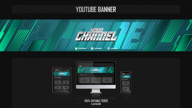Banner für social media channel mit sportkonzept