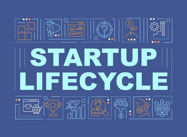 Banner für startup-entwicklungswortkonzepte