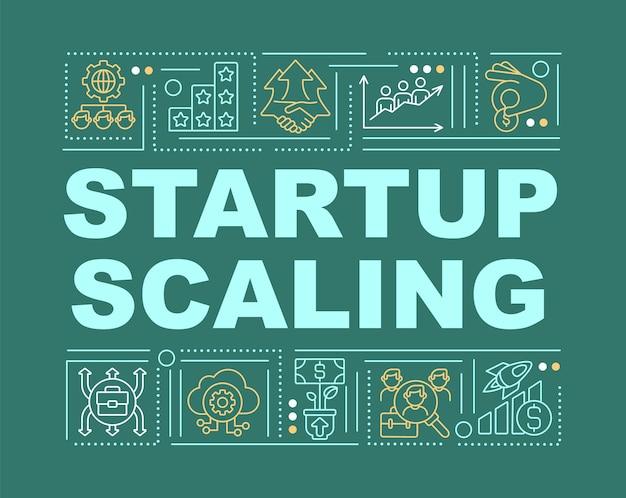 Banner für startup-planungswortkonzepte. geschäftsentwicklung. infografiken mit linearen symbolen auf grünem hintergrund. isolierte kreative typografie. vektorumriss-farbillustration mit text