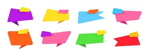 Banner für text flaches design modernes set. beschriften sie leere sammlung, dekorative symbole. origami web aufkleber, design, preis, bunte zeichen cartoon-stil. buntes web icon kit. isolierte illustration