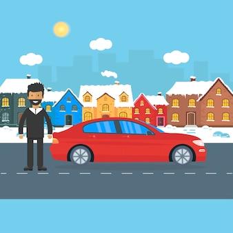 Banner für verkauf, werbehaus, ferienhaus mit auto und mann
