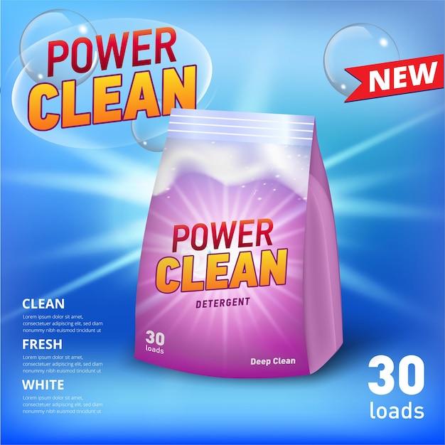 Banner für waschmittel in weichem verpackungsbehälter mit realistischem seifenschaum und seifenblasen