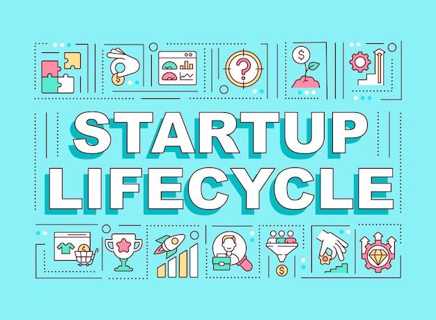 Banner für wortkonzepte des startup-lebenszyklus