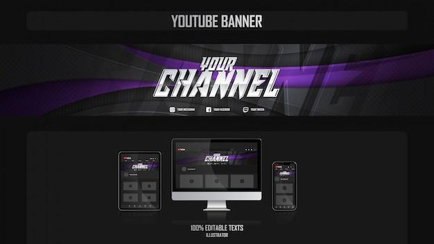 Banner für youtube-kanal mit fitness-konzept