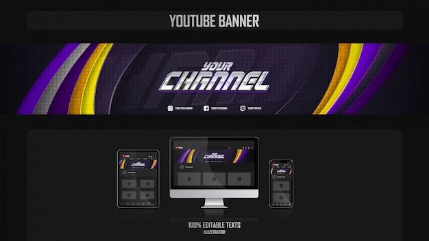 Banner für youtube-kanal mit futuristischem konzept