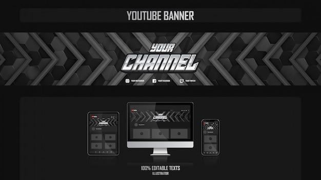 Banner für youtube-kanal mit gamer-konzept