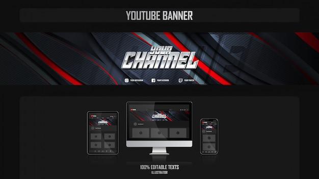 Banner für youtube-kanal mit sportkonzept