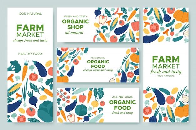Banner gemüse. frisches gemüsemenü, bio-lebensmittel und naturproduktfahnen-illustrationssatz