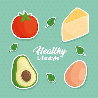 Banner gesunder lebensstil, konzept essen gesund