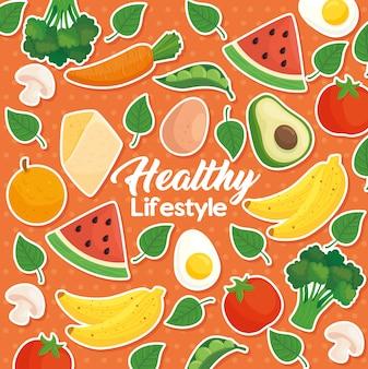 Banner gesunder lebensstil vor dem hintergrund von obst, gemüse und gesundem essen