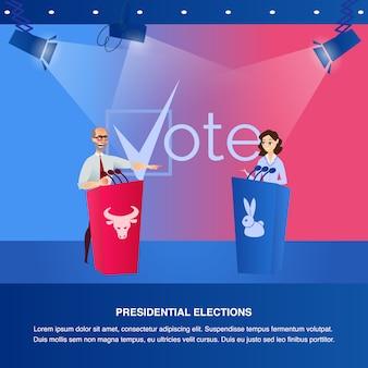 Banner illustration debatte präsidentschaftswahlen