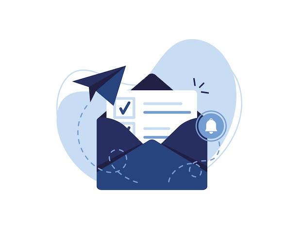 Banner-illustration des e-mail-marketing- und nachrichtenkonzepts. brief, blatt in einem umschlag, häkchen. antrag senden. neuigkeiten erhalten. gefülltes dokument. alarm und glocke. blau und weiß.