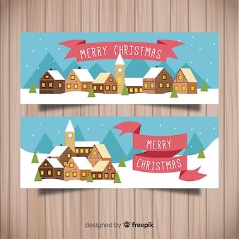 Banner im flachen design mit weihnachtsstadt