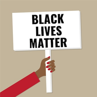 Banner in der hand. konzept - schwarze lebensmaterie, demonstration gegen rassismus.