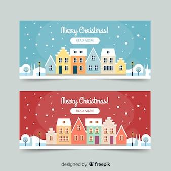 Banner in flachen stil mit weihnachtsstadt