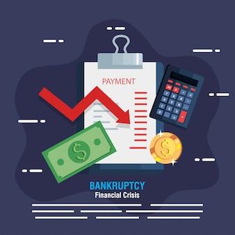 Banner insolvenz finanzkrise, zwischenablage und business-ikonen