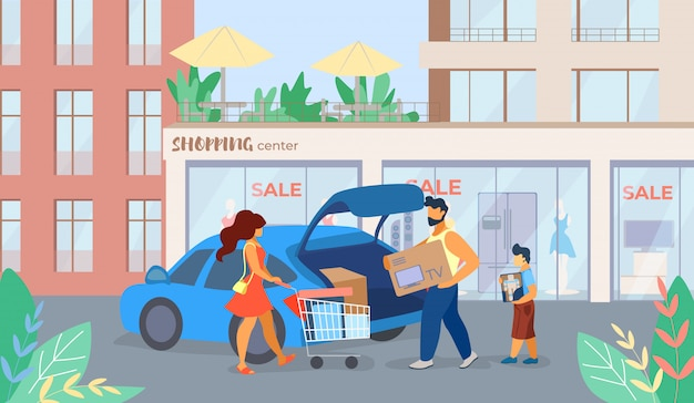 Banner ist schriftliche einkaufszentrum verkauf cartoon
