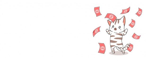 Banner kawaii millionär katze und geld