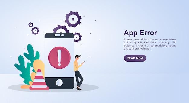 Banner-konzept des app-fehlers mit warnzeichen auf dem telefonbildschirm und kegeln.