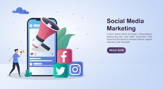 Banner-konzept des social media-marketings mit einem großen megaphon auf dem bildschirm.