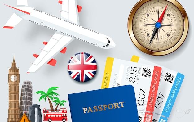 Banner-konzept für reisen und tourismus mit accessoires und sehenswürdigkeiten für urlaubsartikel im flachen stil