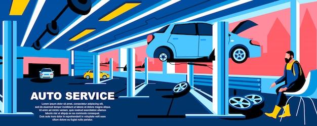 Banner-layout der auto-service-flat-landing-page-vorlage.