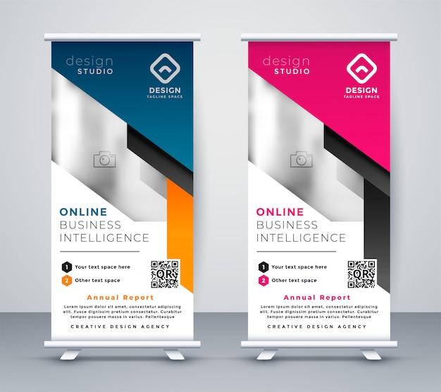 Banner-layout-vorlage im geometrischen stil aufrollen