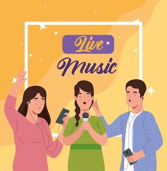 Banner-live-musik Premium Vektoren