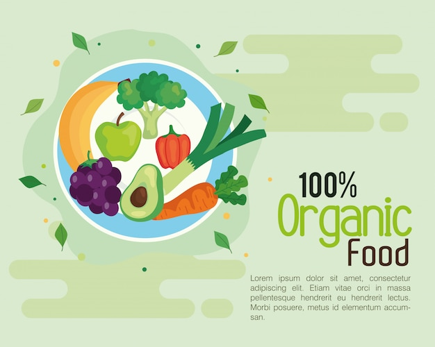 Banner mit 100 prozent bio-lebensmitteln, konzept gesunde lebensmittel