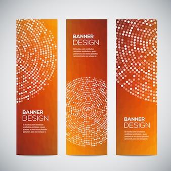 Banner mit abstraktem buntem geometrischem gepunktetem muster und hintergrund.