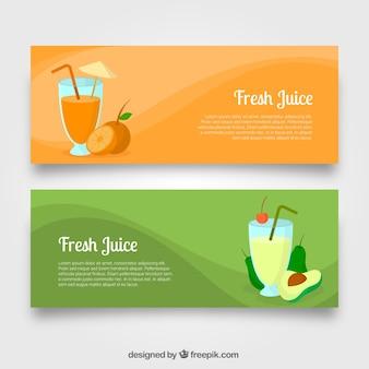 Banner mit avocadosaft und orangensaft