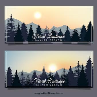Banner mit bäumen auf einer schönen landschaft