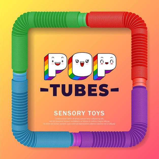 Banner mit buntem anti-stress-sensorik-pop-tube-kunststoffspielzeug