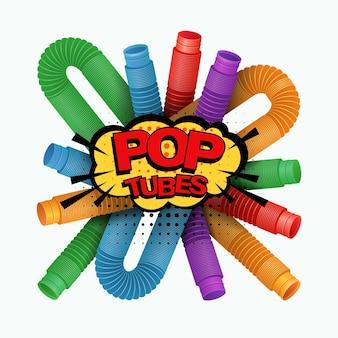 Banner mit buntem anti-stress-sensorik-poprohr-kunststoffspielzeug