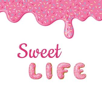 Banner mit donut rosa glasur und text.