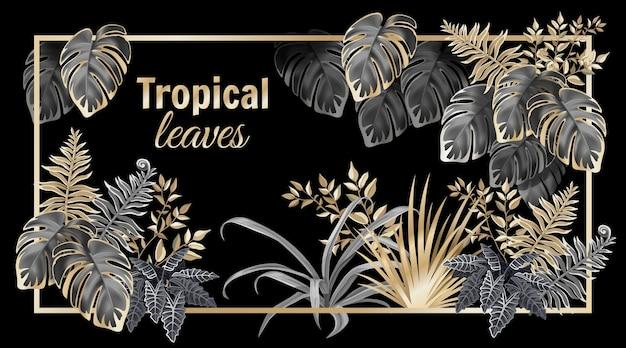 Banner mit dunklen blattpalmen und lianen.