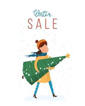 Banner mit einem mädchen, das für einen großen weihnachtsverkauf eilt. illustration im cartoon-stil