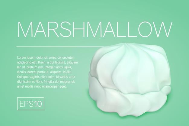 Banner mit einem realistischen bild von marshmallows auf einem türkisfarbenen hintergrund