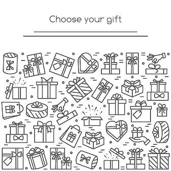 Banner mit eingewickelten geschenkboxen piktogrammen mit editierbarem strich gesammelt
